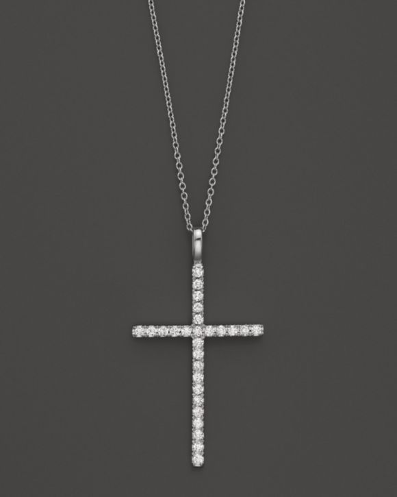 White Gold Plated Cubic Zirconia Cross Long Necklace For Women Jewelry Party