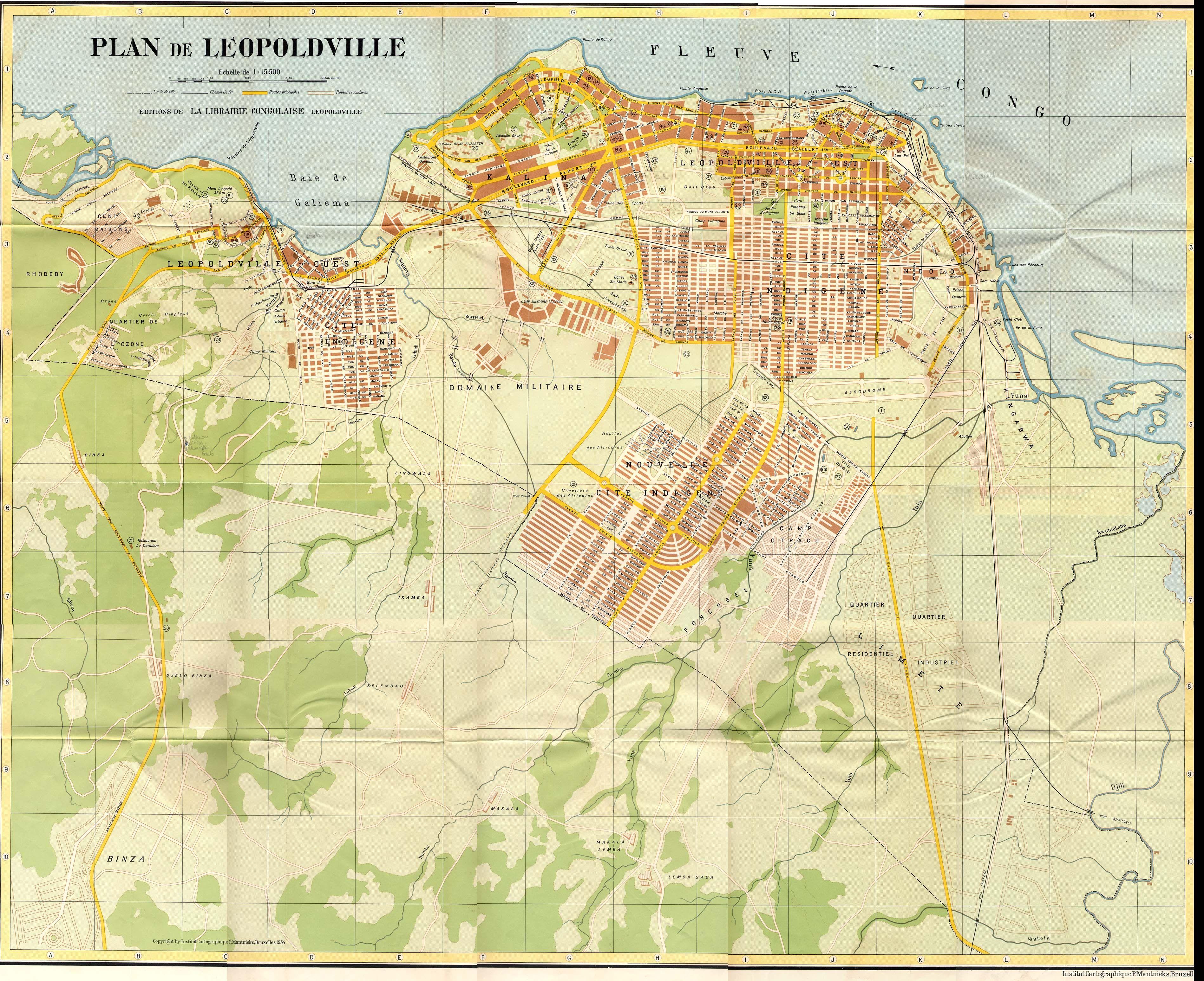 Map of Leopoldville Kinshasa 1960  Mappings  Pinterest