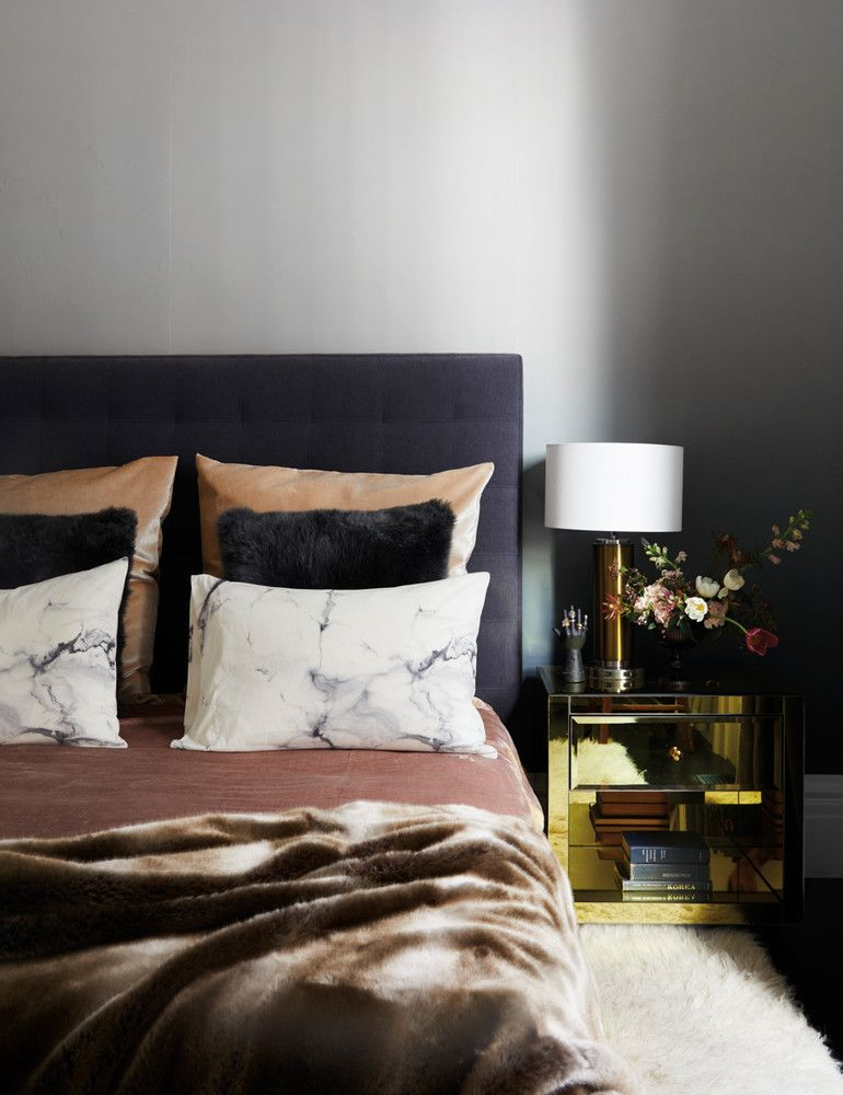 Black and Brown and Gold Bedroom
