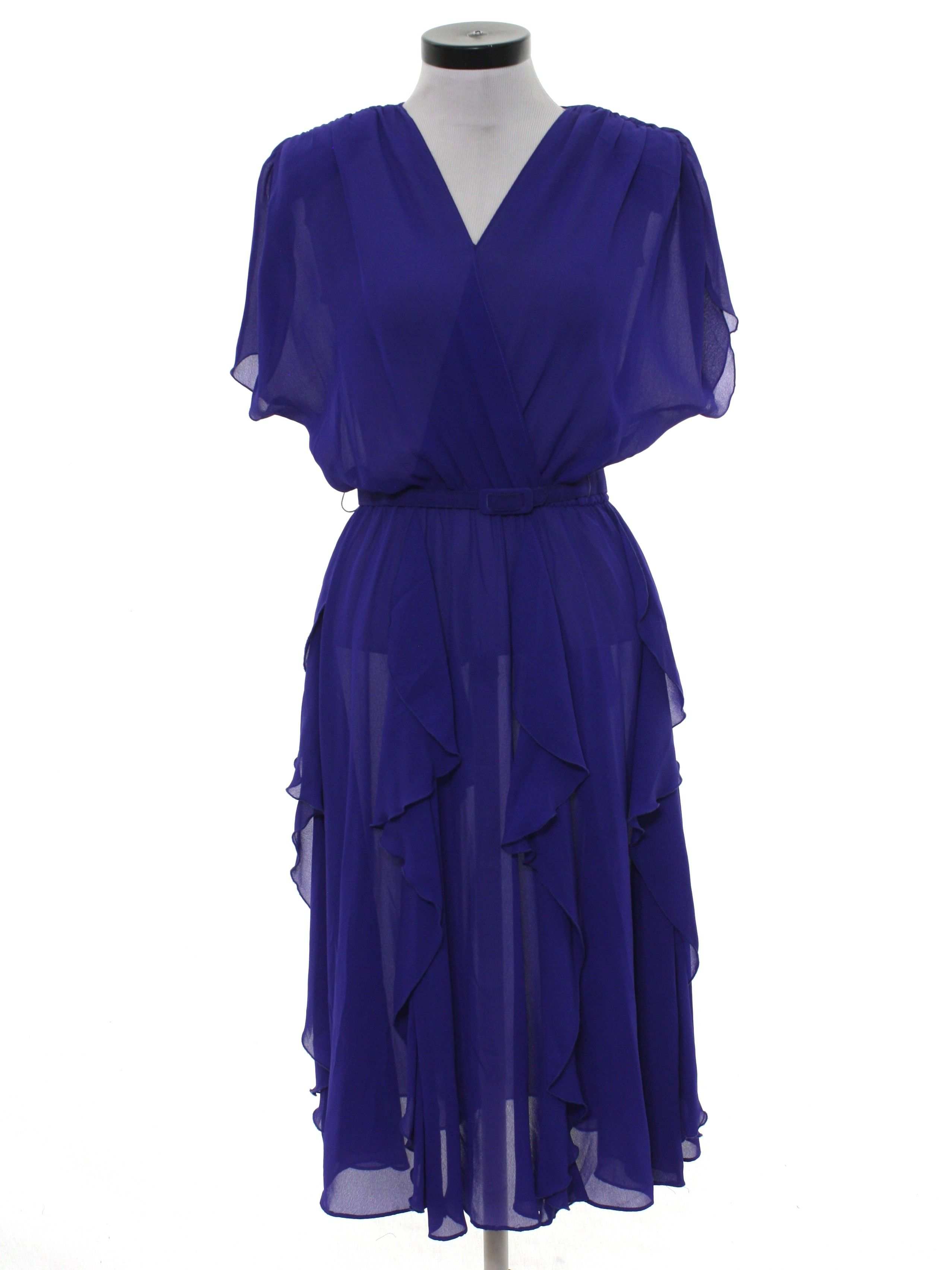 5dc0089fa803 80 s Missing Label Cocktail Dress  80s -Missing Label- Womens sheer dark  purple background
