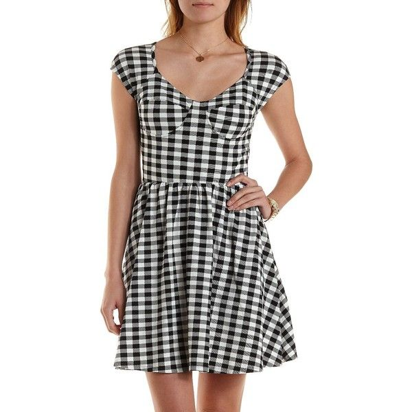 Charlotte Russe Black Combo Gingham Bustier Skater Dress by Charlotte... ($11) ❤ liked on Polyvore