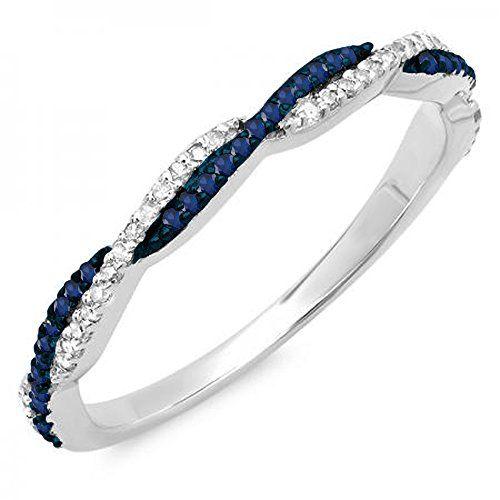 14K Gold Round Blue Sapphire /& White Diamond Ladies Anniversary Wedding Band Swirl Stackable Ring Dazzlingrock DR4761-1987-P