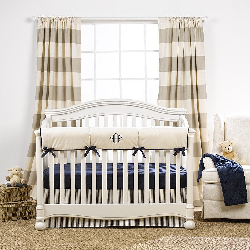 Canvas Stripe Curtains | Boys Nursery Design | Liz And Roo | Liz And Roo  Fine