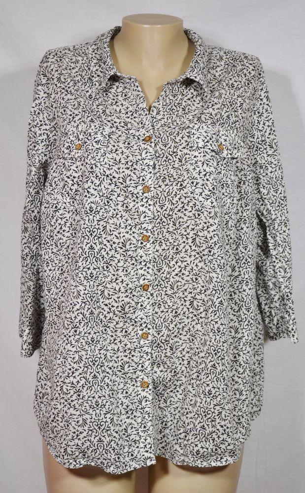 CROFT & BARROW White Black Patterned Short Blouse 1X 3/4 Sleeves 100% Cotton #CroftBarrow #Blouse #Casual
