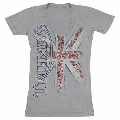 Triumph T Shirt Womens Union jack, Triumph Motorcycles Women/'s