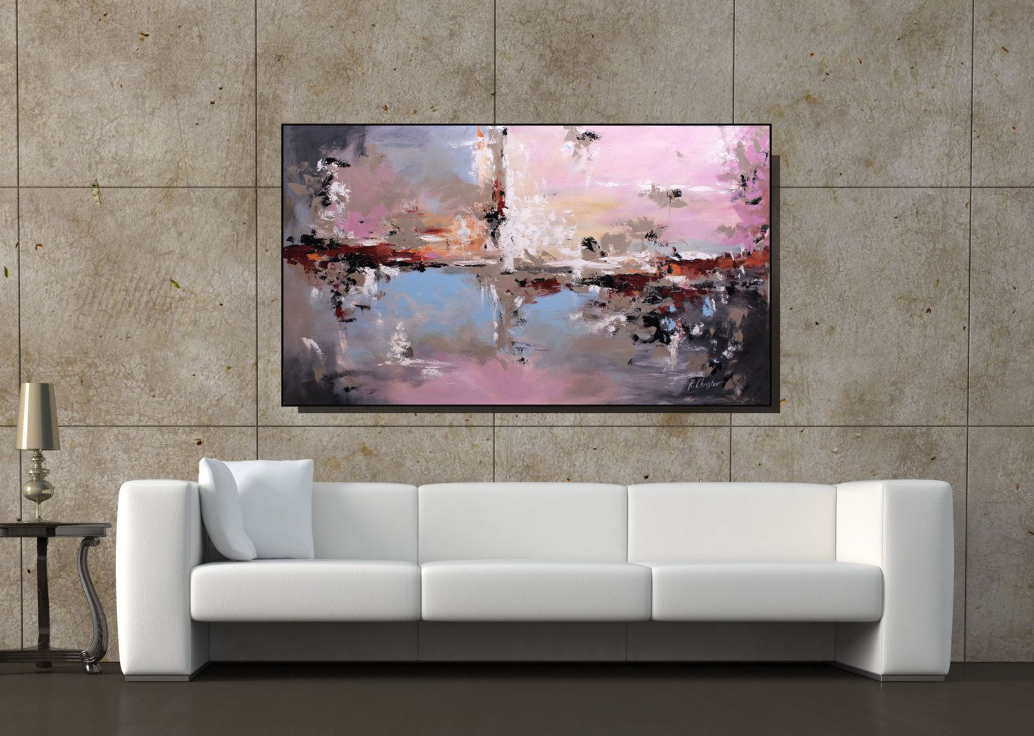 Leinwand Wohnzimmer ~ Large art original abstract painting taupe pink blue wall art large