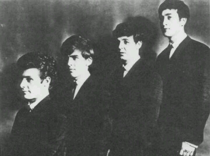 Pete Best, George Harrison, Paul McCartney, and John Lennon.