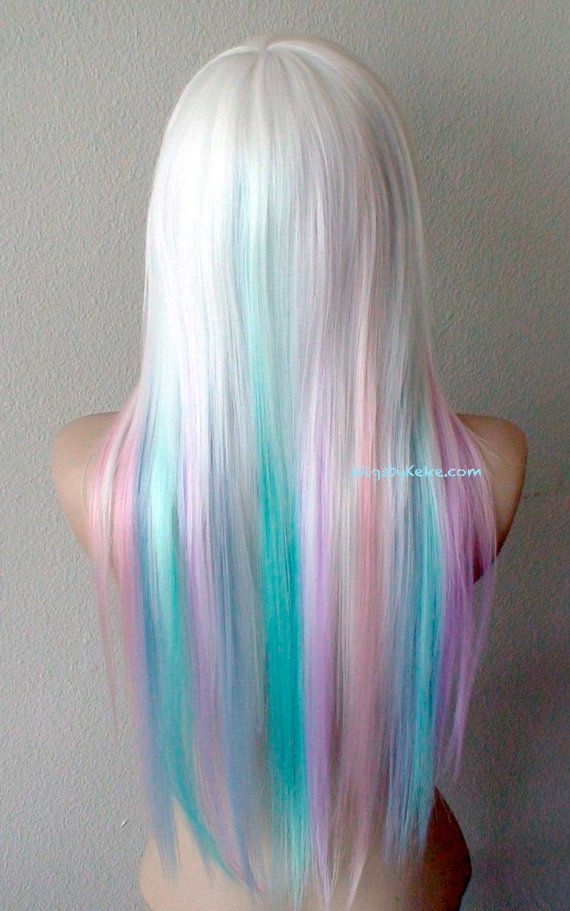 Pastel rainbow ombre wig. Snow white wig. Pastel pink ...