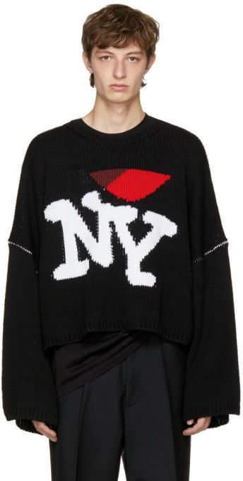 88e28bc94f39a Raf Simons Black Oversize 'I Love NY' Sweater - ShopStyle   Beauty ...
