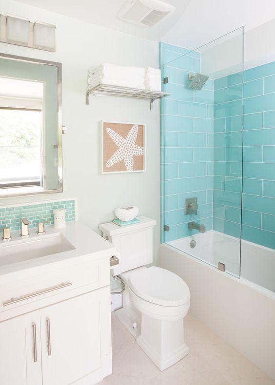Turquoise Tile Agk Design Studio Beachy Bathroom Ideas Kids Beach