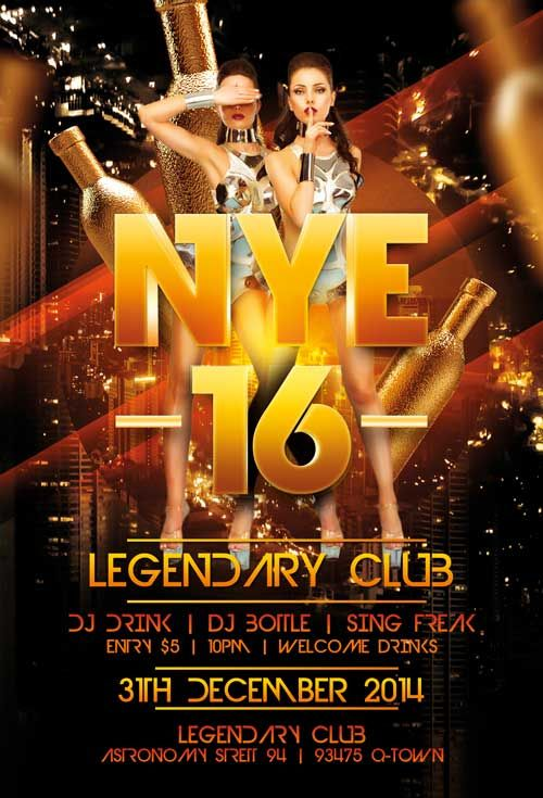 Legendary New Years Eve Free Flyer Template - http\/\/freepsdflyer - new year brochure template