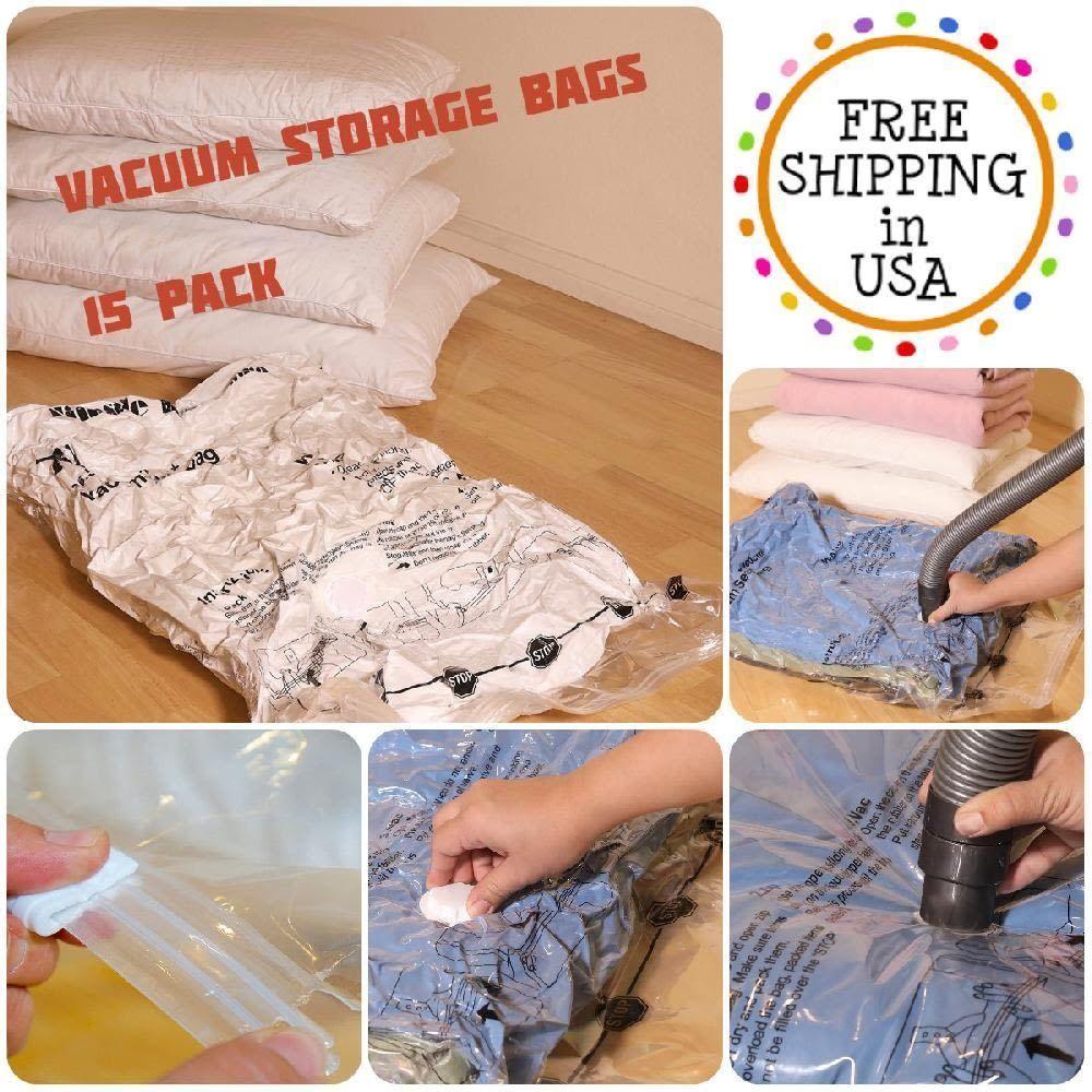X15 Vacuum Storage Bags Organizer Seal E Saver Home Travel M L Xl Jumbo Size