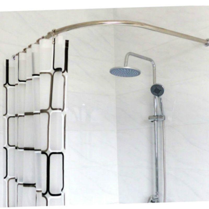 Stainless Steel Curved Shower Curtain Pole Rod Rail Bathroom ...