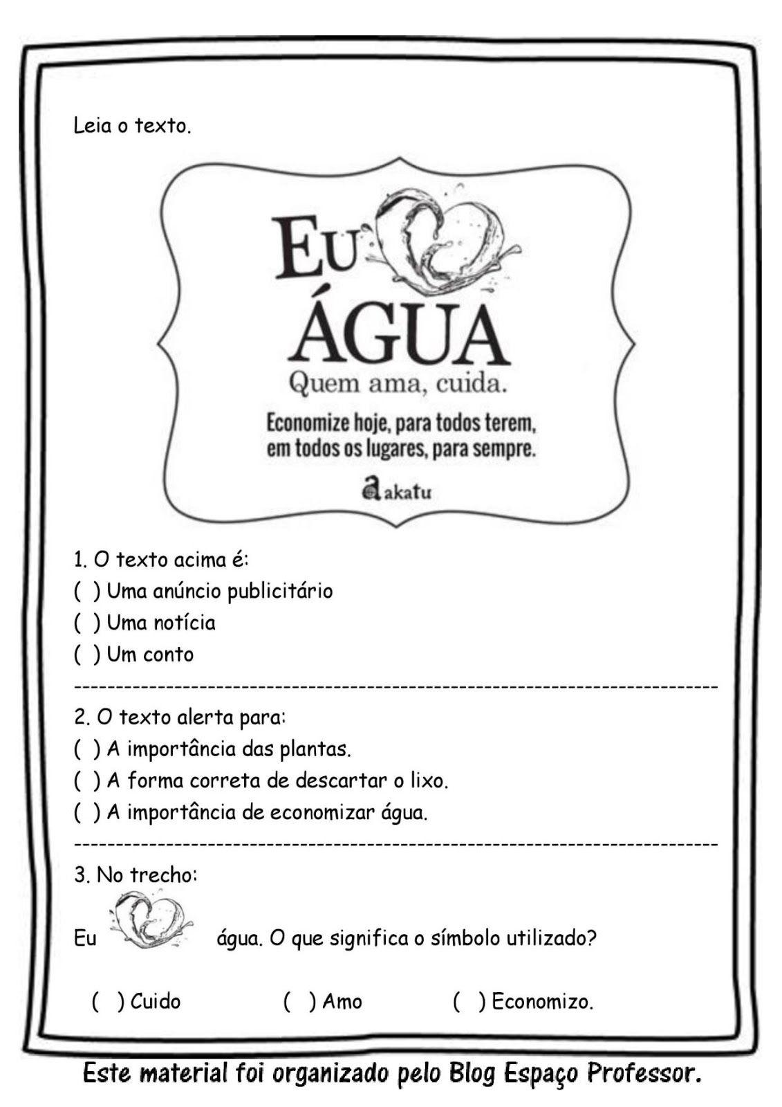 Espaco Professor Atividades Sobre A Agua Dia Mundial Da Agua