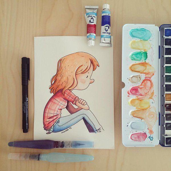 Ilustradora con dibujos de muñequillos