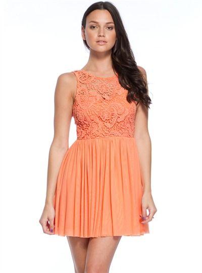 Orange, lace, semi-casual, semi-formal