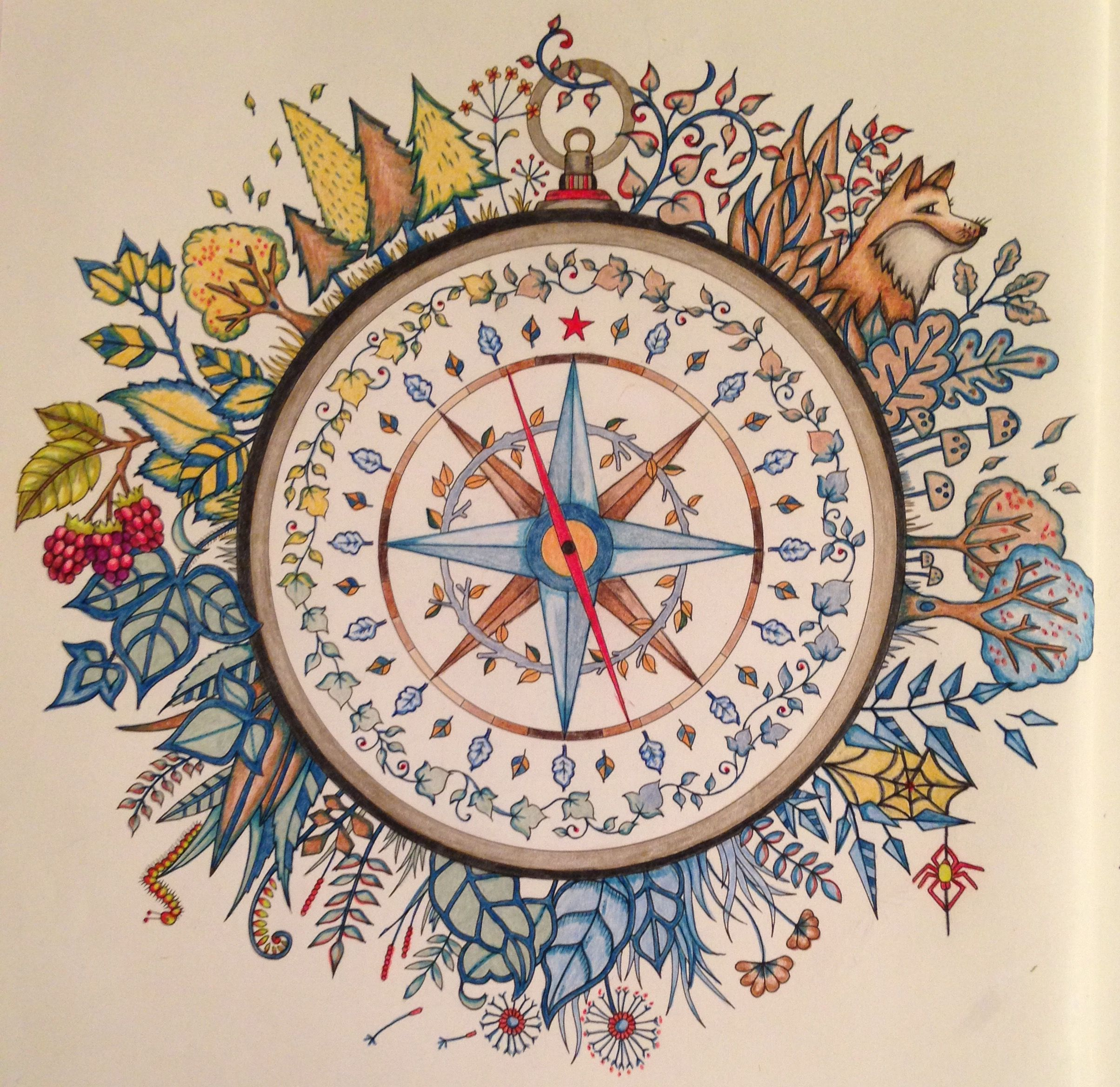 Compass Rose Tattoo Adult Coloring Books Colouring Johanna Basford Drawing Art Magnetic Book Colored Pencils