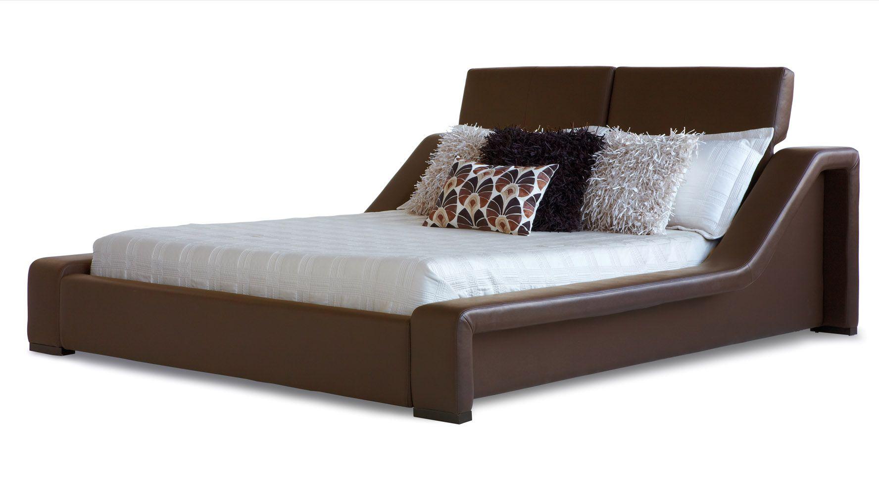 London leather contemporary platform bed brown zuri furniture