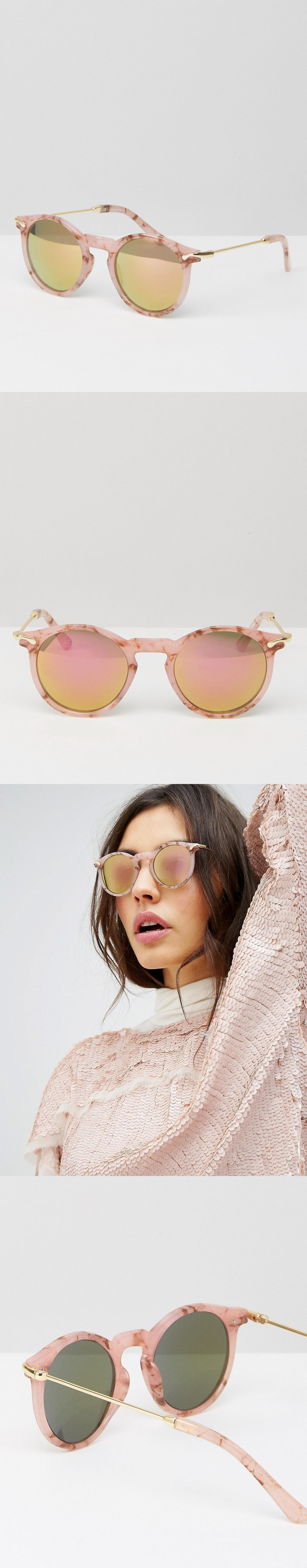 Round Sunglasses With Metal Arms And Flash Lens In Pink Marble - Pink Asos wALsb