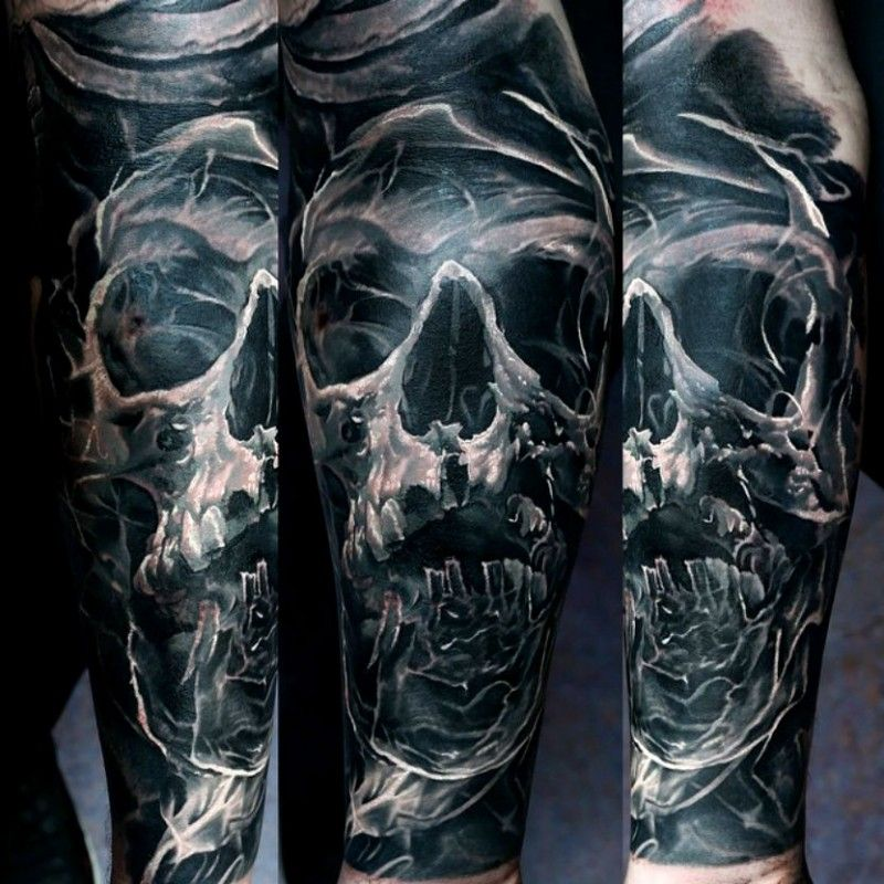 colored sleeve tattoo of human skull with smoke ...