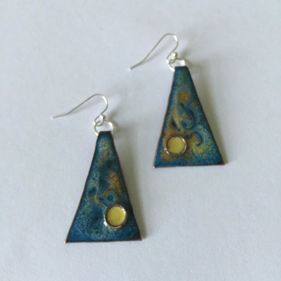 Enameled copper triangle shape. Measures 1 drop from sterling silver ...