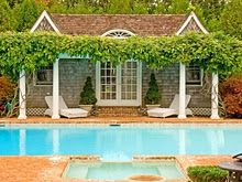 Arbor, pool house, and pool
