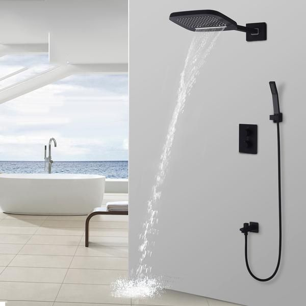 Black Shower Thermostatic Waterfall Rain Shower Head Hand Shower