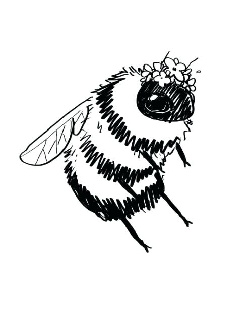 Simple Bee Drawing Bees With Tiny Flower Crowns Simple Beehive