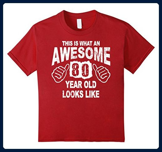 Kids 80th Birthday 80 Years Old 1937 T Shirt 10 Cranberry