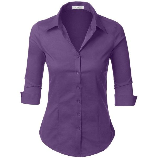 0f3a8ac0 LE3NO Womens Roll Up 3/4 Sleeve Button Down Shirt with Stretch ($11 ...