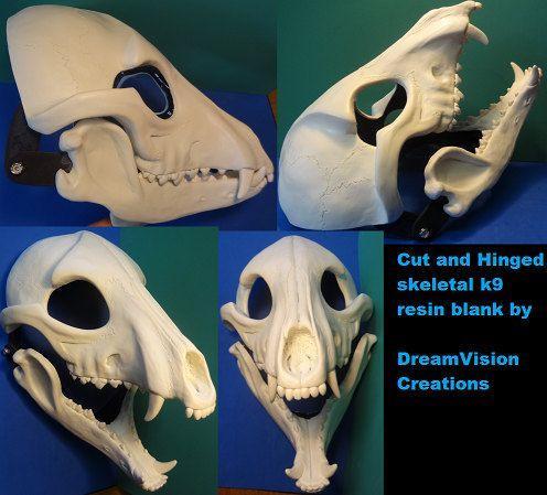 Skeletal K9 Resin Head by DreamVisionCreations on Etsy
