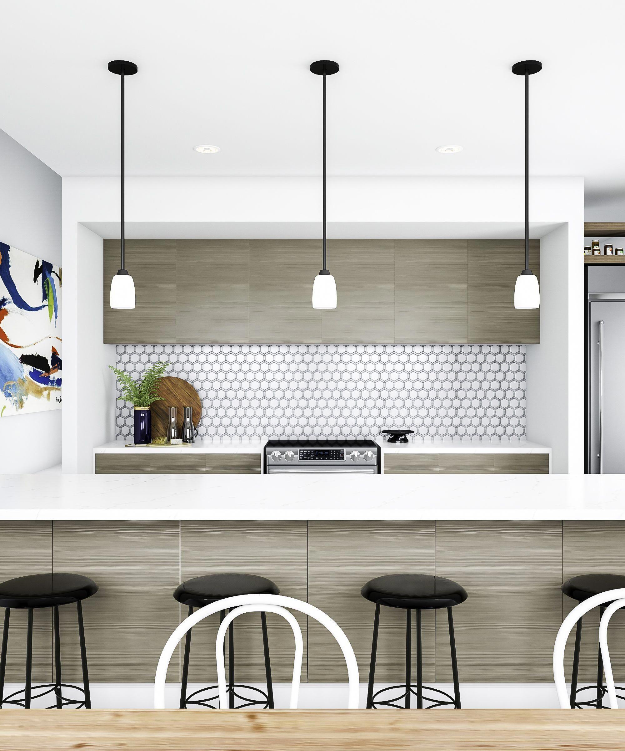Modern Minimalist Kitchen Cabinets: Mosaic Makes A Comeback In A Modern, Minimalist Kitchen. A