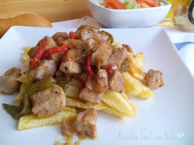 Recetas Fácil con Bela: Solomillo de cerdo con cebolla y pimiento pochado ( Carne Richada)