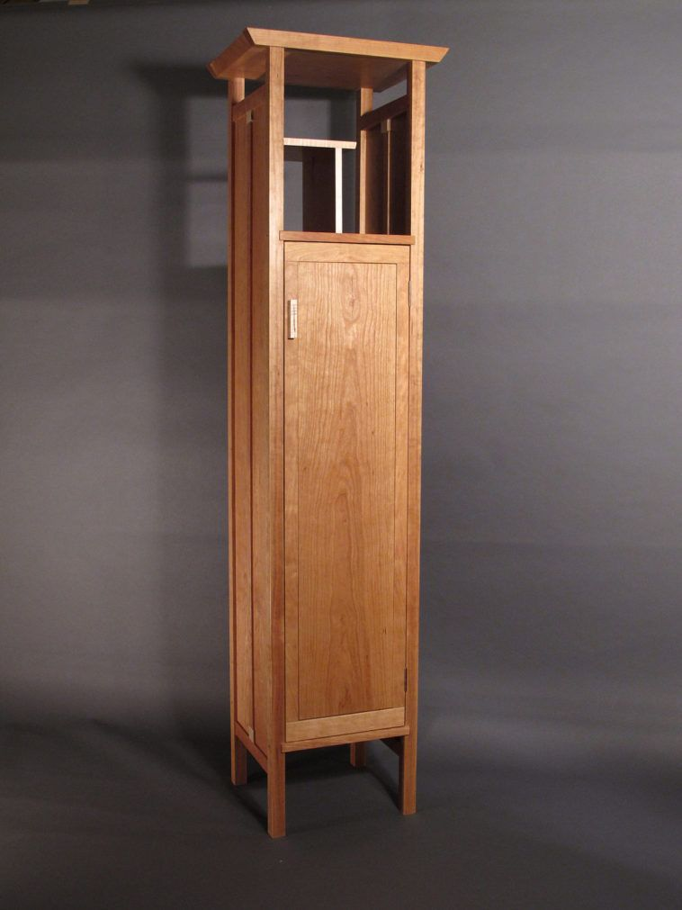 Natural Wood Tall Narrow Storage Cabinet With Single Door And High