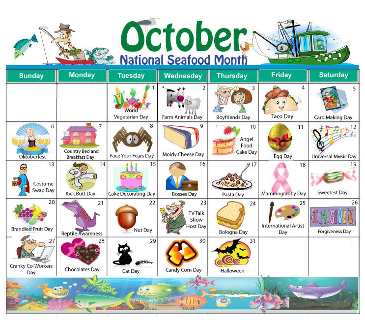 Monthly Calendar Events Special Days Celebrated : The new october holiday calendar is now available free