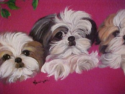 Little Angels Shih Tzu Puppies Handpainted Handbag Shih Tzu