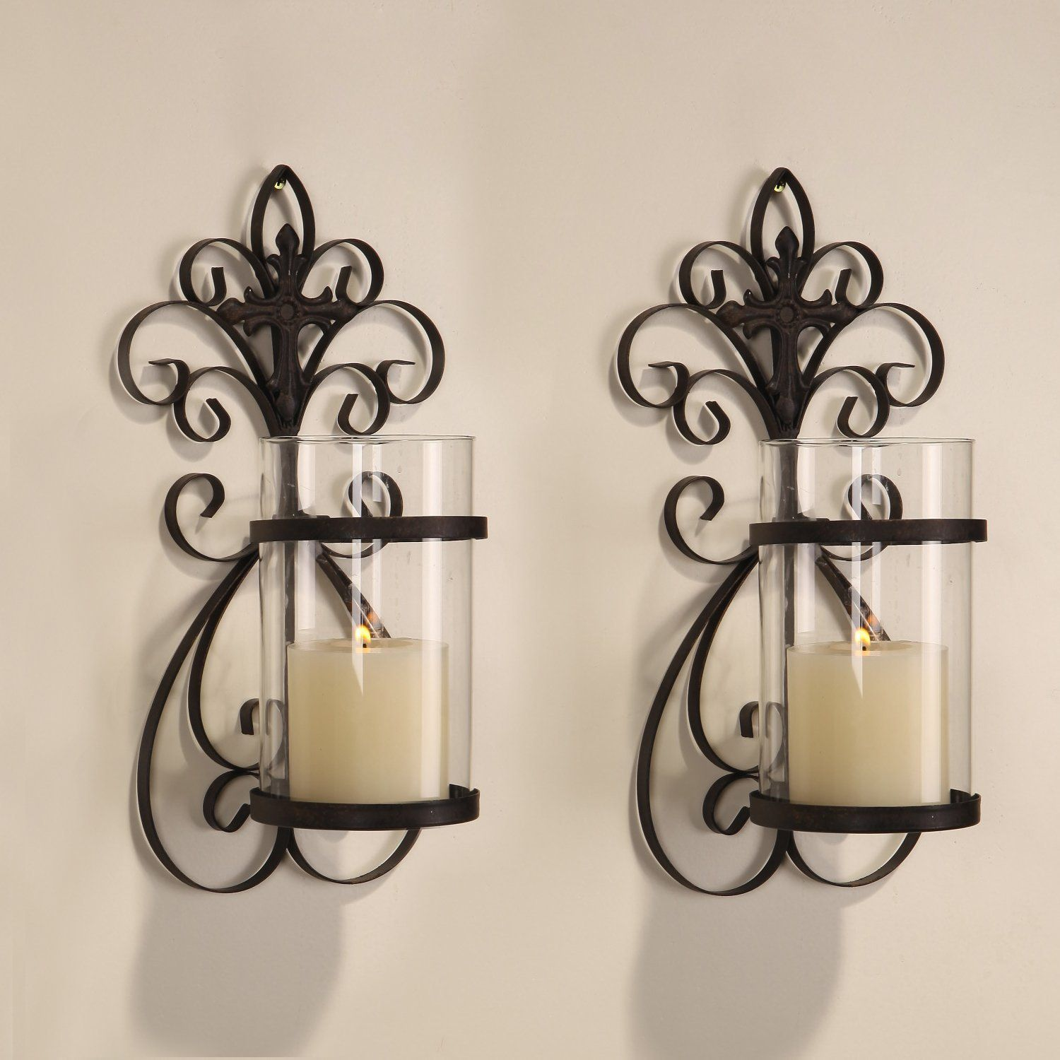 Adeco Iron And Gl Vertical Wall Hanging Candle Holder Sconce Hd0005