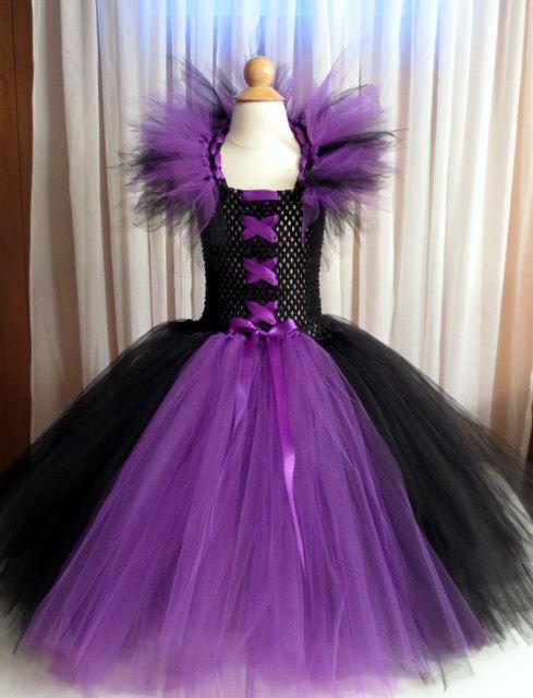 kids girls maleficent dress costume tutu with horned headband for halloween photo shoots or pageants - Halloween Tutu Dress