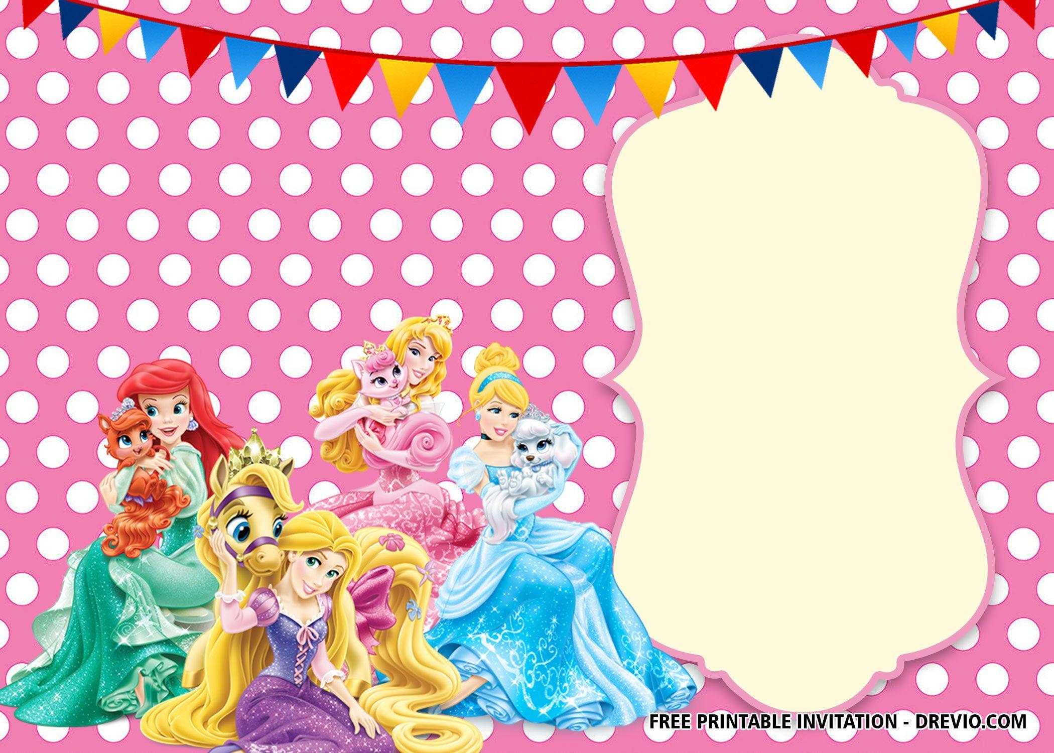 FREE Printable Disney Princess Polkadot Invitation ...