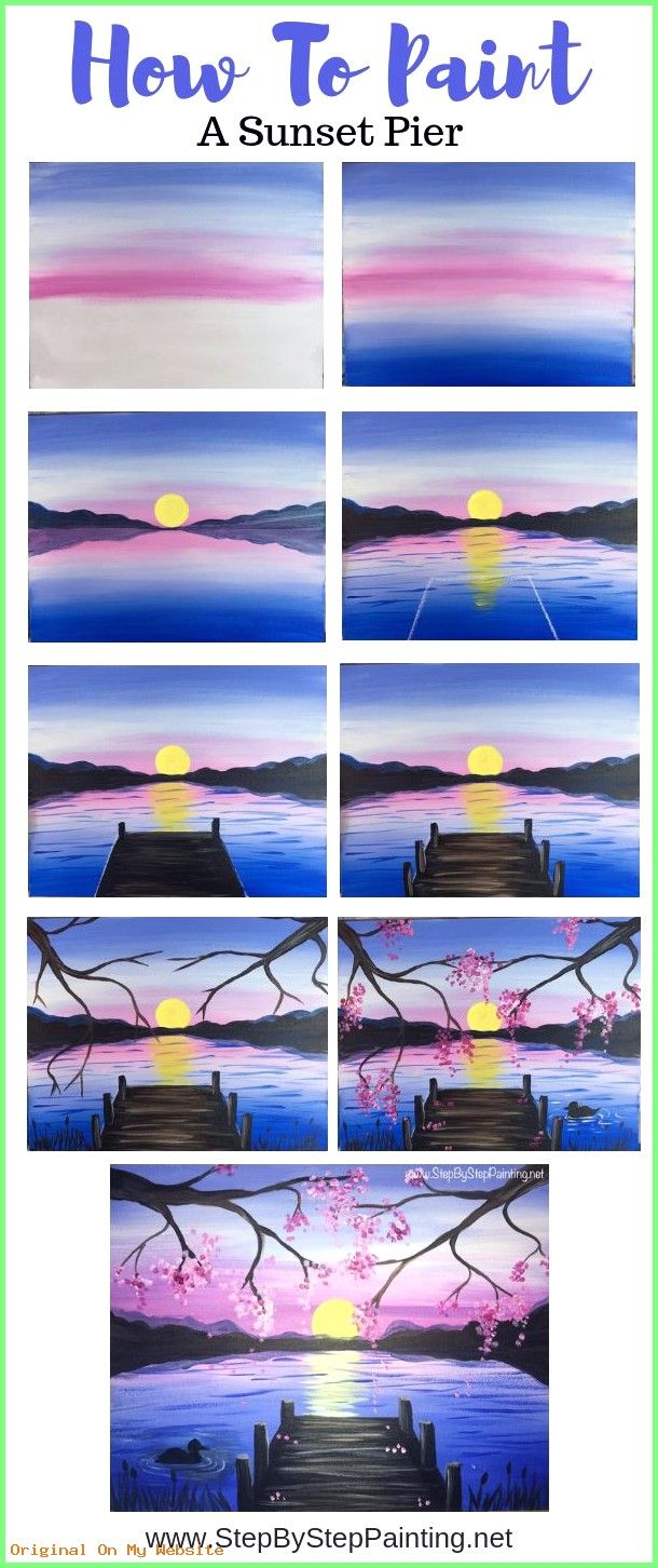 Photo of Kunst Zeichnungen – How To Paint A Sunset Lake Pier – Step By Step Painting – Be…