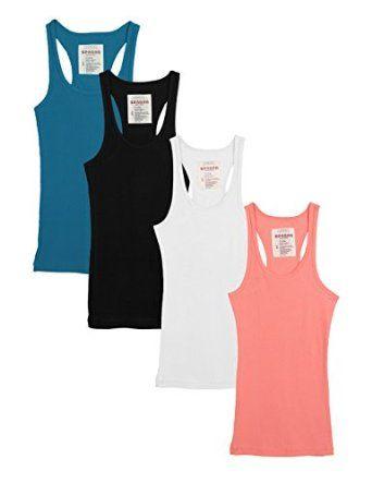 c02491bda9da54 Zenana Outfitters 4 Pack Womens Basic Ribbed Racerback Tank Top at Amazon  Women s Clothing store