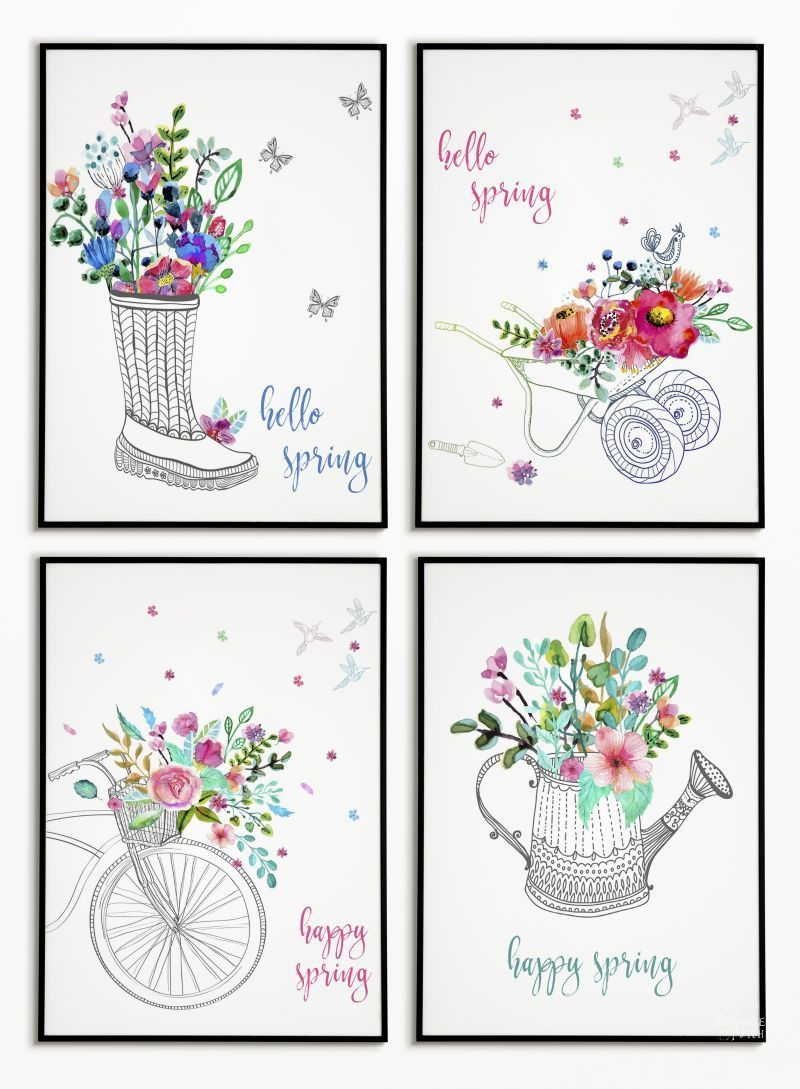 Free Watercolor Spring Printables Printable Wall Art Printable