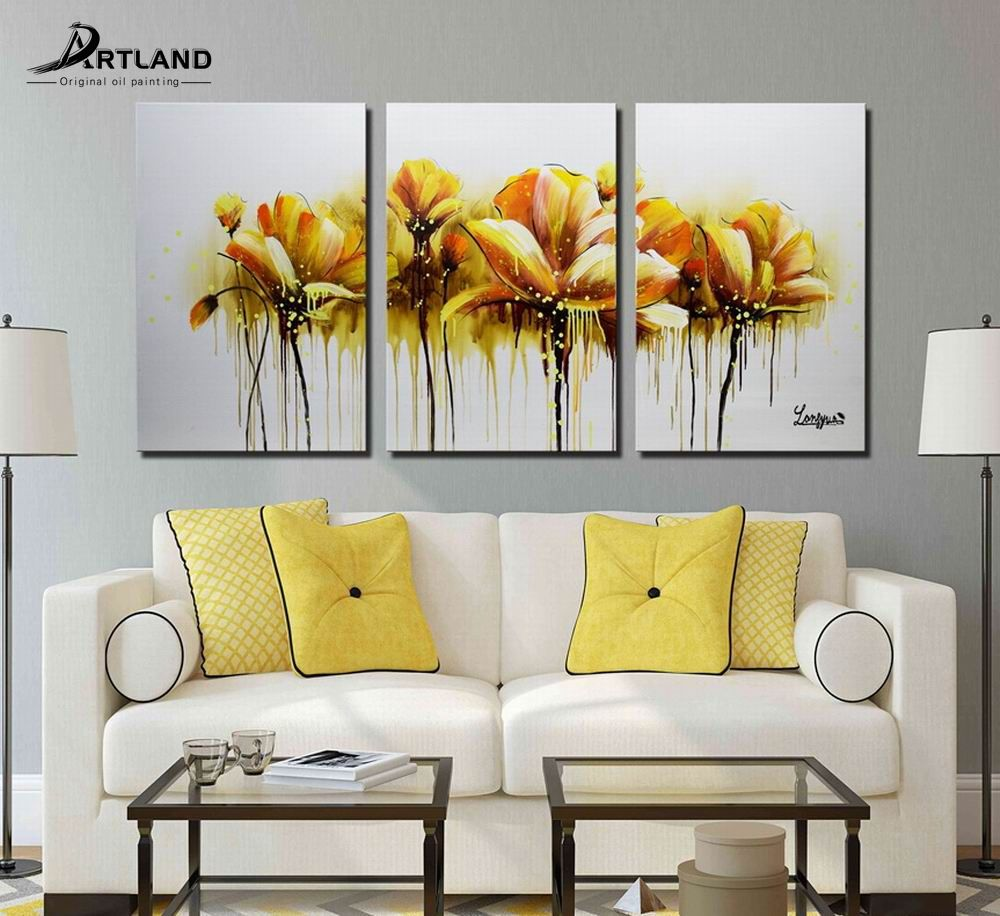 Framed Art Flowers Oil Painting Hand-painted Canvas Home Wall Decor ...