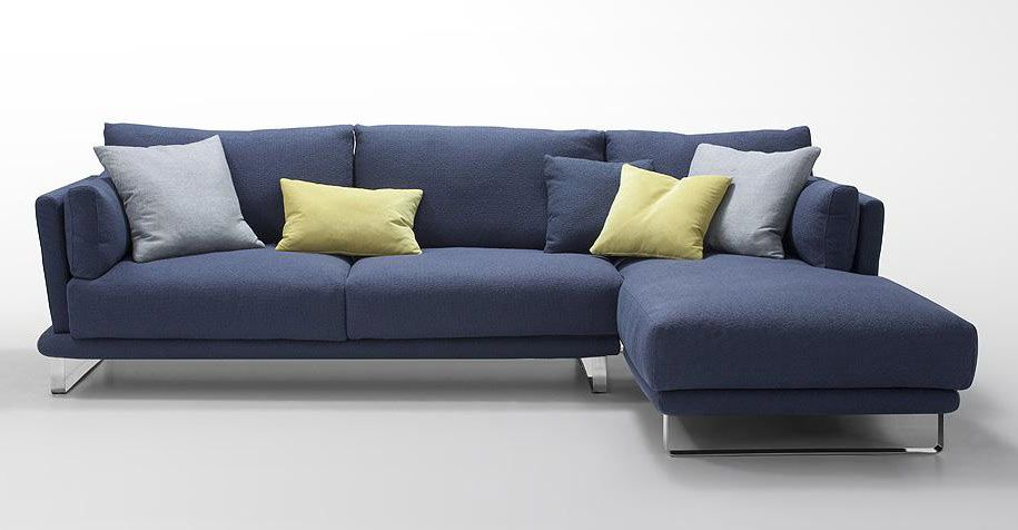 Modern Dark Blue Fabric Sectional Sofa Lucas Sofas