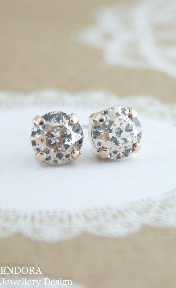 Swarovski Rose Patina Crystal Gold Stud Earrings