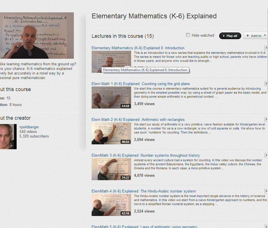 14 Videos : Elementary Math (K-6) Explained http://www.youtube.com ...