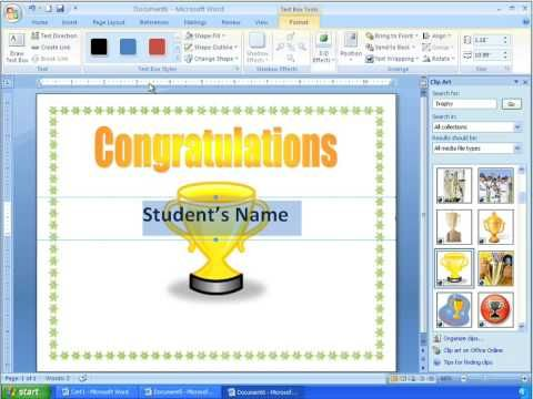 Word 2007 Tutorial 16 - Making a More Advanced Certificate - make a certificate in word