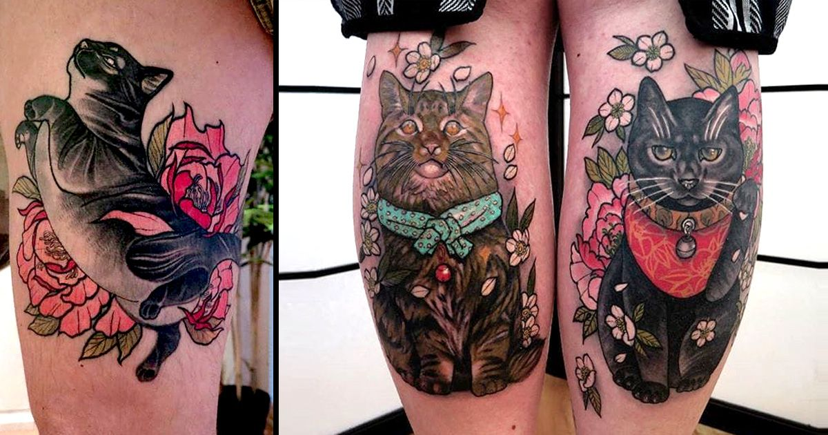 Sugoi Neo Traditional Japanese Style Cat Tattoos By