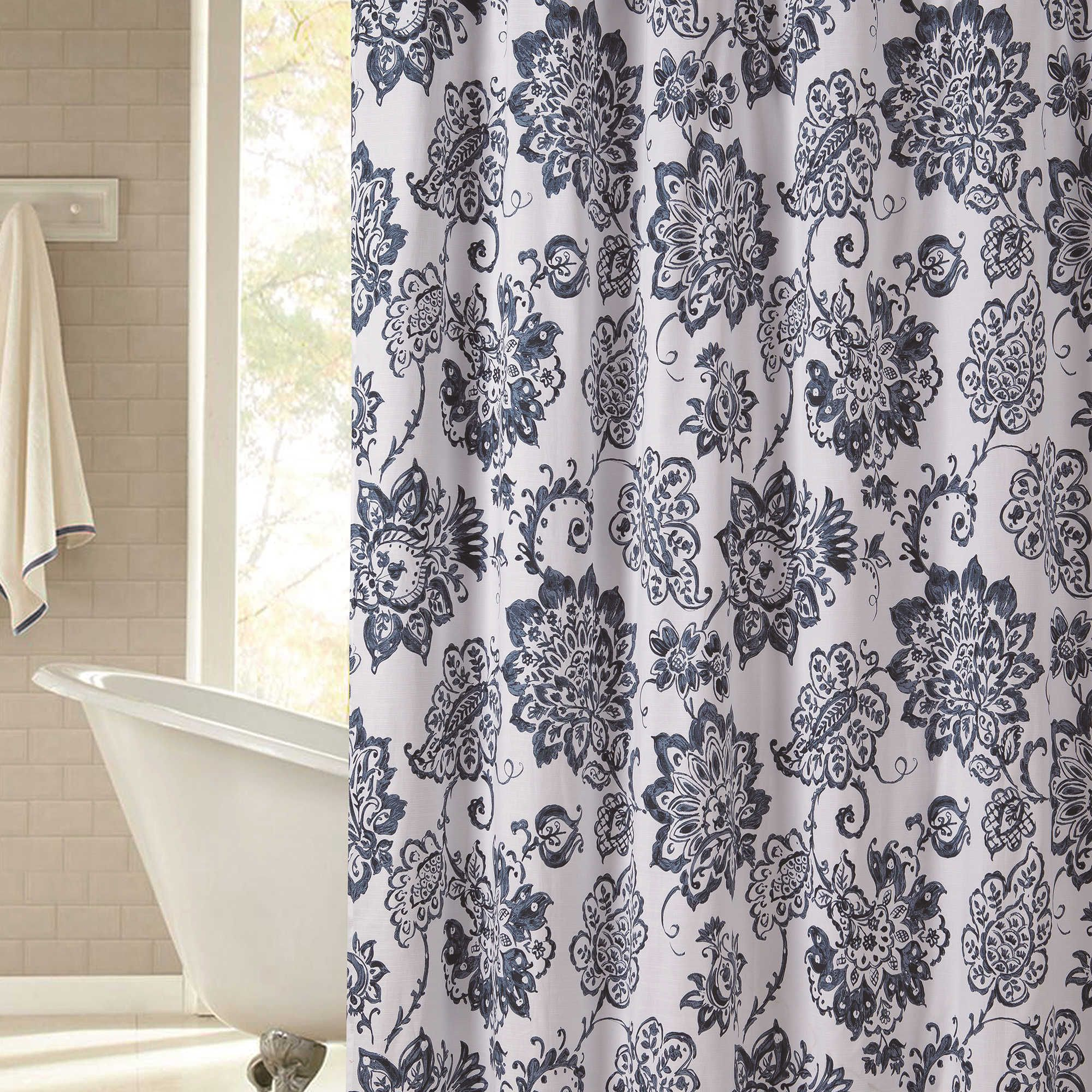 Avignon 72 Inch X 96 Inch Shower Curtain In Navy 96 Inch Shower Curtain Shower Curtain Paisley Shower Curtain