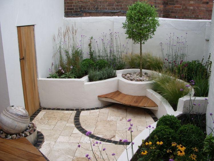 sitzplatze-garten-modern-sitzbank-gemauert-pflanzenbeete-mauer, Garten Ideen